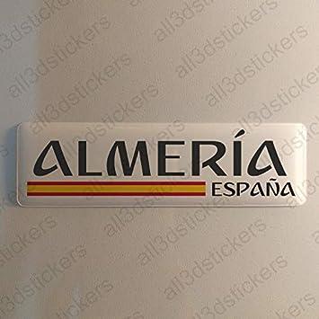 Pegatina Almeria España Resina, Pegatina Relieve 3D Bandera Almeria España 120x30mm Adhesivo Vinilo: Amazon.es: Coche y moto