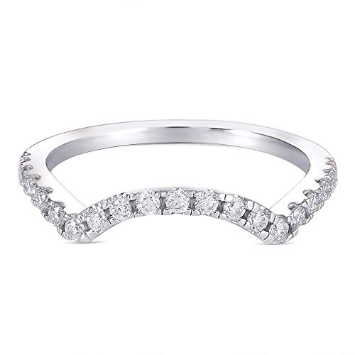 Platinume Plated Silver 1.5mm Moissanite Heart Arrows Cut Moissanite Half Eternity Wedding Band for Women (6)
