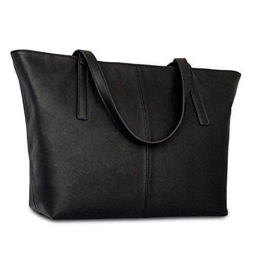 Expatrié Vegan Leather Women's Handbag Shopper Tote Black PU Leather Handbags For Women - Large Elegant Ladies Shoulder Bag With Functional Compartments & Zipper Closure