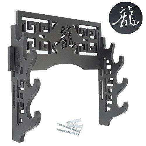 Drache HUOXU 4 Schichten Holzwandplatte Schwerter Wandhalterung Bushido Schwerte Duale Aufh/ängkapazit/ät Schwerthalters