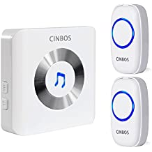 Cinbos Wireless Doorbell For Home/Office, 1000 Feet Long Range, 52 Chimes, 4 Levels Volume, LED Light, with 2 Remote Buttons and 1 Plugin Receiver, Model B Expandable Alert System, Classic Style