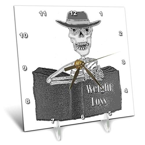 "3dRose""Funny Cool Skeleton Reading Weight Loss Book Desk Clock 6"" x 6"""