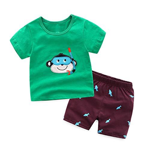 NING Boys Dinosaur Pajamas 2 Piece Set Short Sleeve Sleepwear 100% Cotton Pjs Toddler 2-7T (Monkey, 5T)