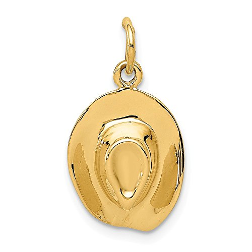 14k Yellow Gold Hat Pendant Charm Necklace Household Man Fine Jewelry Gift For Dad Mens For Him -