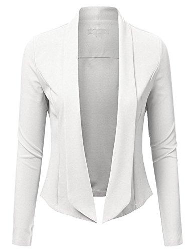 ARCITON Women s Lightweight Summer Long Sleeve Open Front Blazer Jacket White XL