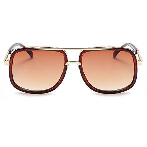 en Lunettes marque carré or classique hommes en pour Marron UV400 Cadre mle concepteur soleil de lunettes aviateur forme surdimensionné rétro qt5wS