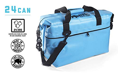 BISON COOLERS 24 Can Softpak Portable Cooler. Portable, Insulated, Soft, Ice Cooler Bag. Perfect for: Hiking, Camping, Sports, Picnics, Fishing, Road/Beach Trips. (Blue)