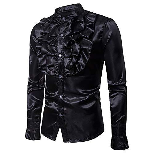 Traje Hombres Masquerad Negro Escenario Banquete Con Manga Rendimiento Fiesta Del Collar Stand La Vest Floral Brillante Hombre Disco De Para Los Ocasional Slim Fit Botones Camisa Larga XxBdXSq