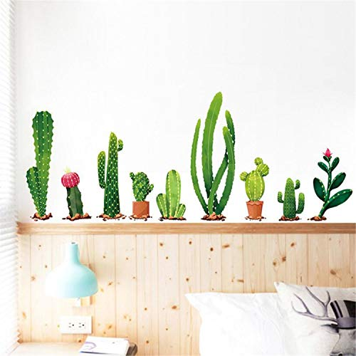 Cactus Wall Sticker Cartoon Potted Green Plants Wall Decal Removable DIY Cactus Bonsai Sticker Family Mural Decal Decorative Wall Art for Girls Bedroom Nursery Room Sofa Background Wall Decoration