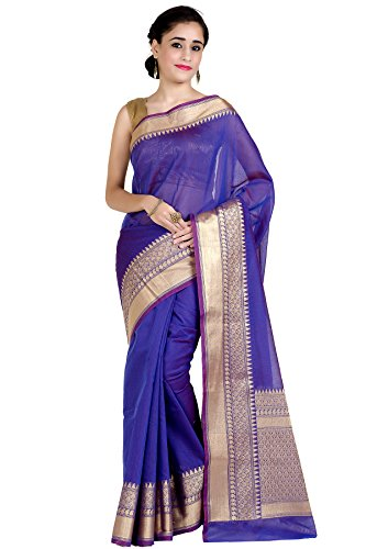 Chandrakala Women's Purple Cotton Silk Blend Banarasi Saree,Free Size(1258PUR)