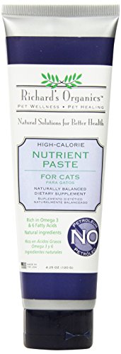 - Richard's Organics Nutrient Paste for Cats, 4.25 oz. - Naturally Balanced High-Calorie Dietary Supplement- Stimulates Appetite with Vitamins, Antioxidants, Fatty Acids - 100% Petroleum Free