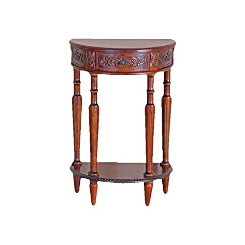 Hand Carved Wood Half-Moon Console Table For Sale