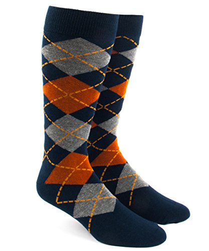 The Tie Bar Argyle Orange Men's Cotton Blend Dress Socks (Mens Orange Dress Socks)