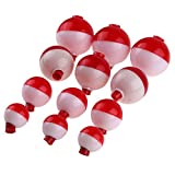 fishing bobber decorations - Alloet 12pcs Plastic Fishing Floats Assorted Fishing Tackle Accessories Snap-On Bobbers