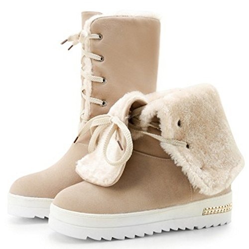 COOLCEPT Women Warm Boots Lace Up apricot A883oDRw1h