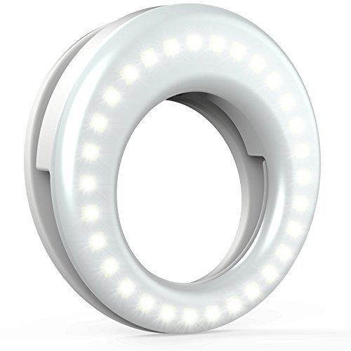 Ring Light for Camera [Rechargable Battery] Selfie LED Camera Light [36 LED] for iPhone iPad Sumsung Galaxy Photography Phones, White