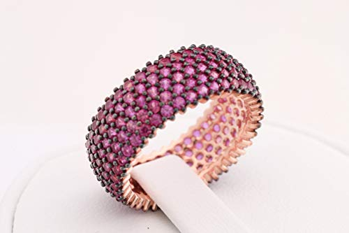 Special Design Turkish Handmade Jewelry 5 Lines Pink Ruby Zircon Rose Gold Stone 925 Sterling Silver Band Ring All Size