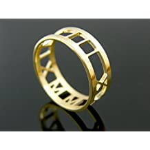 Roman numeral ring 14K Solid Gold Anniversary personalized engagement rings wedding band promise rings
