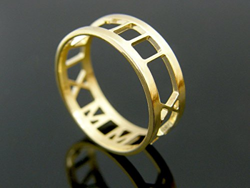 14K Solid Gold Custom Date ring personalized Anniversary ring engagement rings wedding band couples promise rings, roman numeral ring gold rings for w…