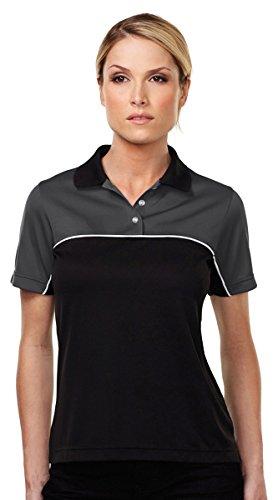 Tri-Mountain Double-Clutch Wicking Mesh Polo Shirt, XS, CHARCOAL/BLACK