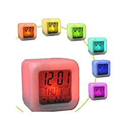 Chirpa 7 Colors Changing LED Clock Digital Thermometer Night Glowing Cube Alarm Clock (White, 7.5 x 7.5 x 7.5cm)