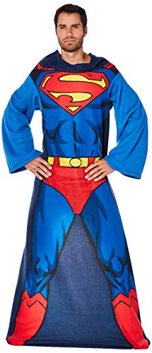 DC Comics Superman, Action Superman Adult Soft Throw Blanket with Sleeves, 48 x 71, Multi Color, 1 Count