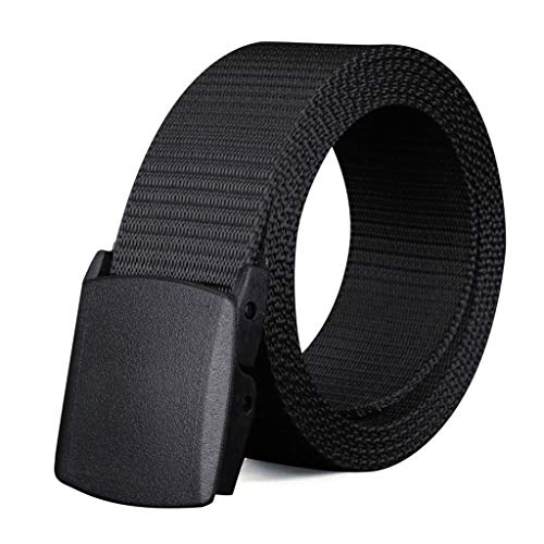 YAOLUU Canvas Belt Men's Automatic Smooth Buckle Hypoallergenic Belt Casual Outdoor L120cm (Color : A)