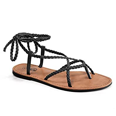 Trary Tong Braided Lace Up Gladiator Flat Sandals for Women Black Size: 6 US