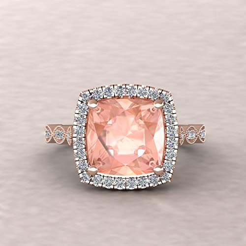 - Square Cushion Morganite Ring - Morganite Engagement Ring with Diamond Halo; from our Eloise Collection - By Laurie Sarah - LS5650