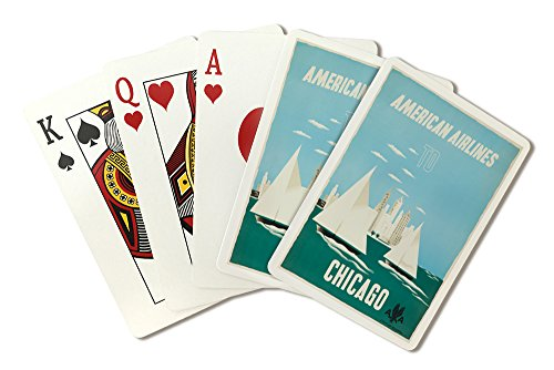 - American Airlines - Chicago Vintage Poster (artist: Kauffer) USA c. 1951 (Playing Card Deck - 52 Card Poker Size with Jokers)