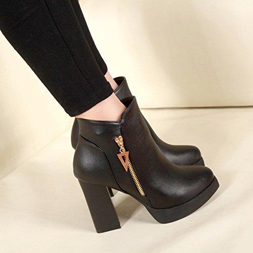 GTVERNH-Le Nouveau Imperméable Taiwan Avec D\'Épais De 10 Cm De Chaussures Mode Martin Boots Côté Zipper Bottes Trente - Sept Black