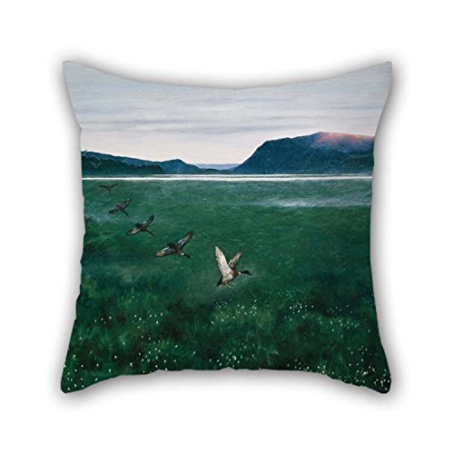 (eyeselect Oil Painting Theodor Kittelsen - The Twelwe Wild Ducks Pillowcover Best for Shop Girls Dining Room Indoor Office Festival 16 X 16 Inches / 40 by 40 cm(Two Sides) for Christmas )