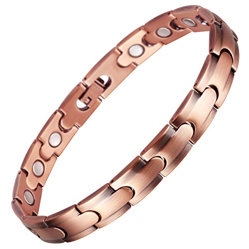 VITEROU Womens Magnetic Solid Pure Copper Therapy Bracelet with Strong Healing Magnets for Arthritis Pain Relief and Carpal Tunnel,3500 Gauss