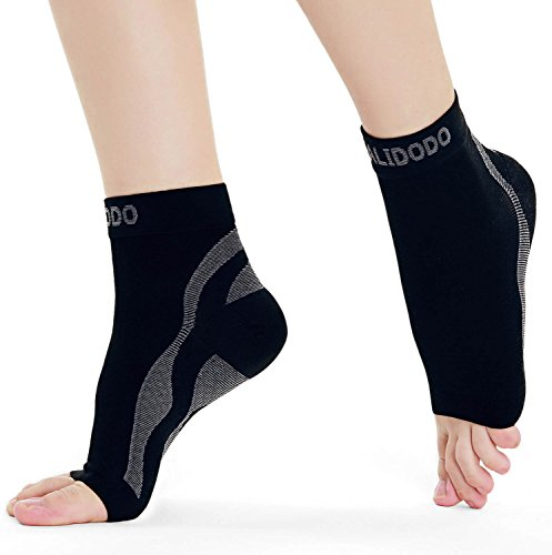 Plantar Fasciitis Compression Socks with Foot & Ankle Support for Men & Women | Cradles Sore Ankles, Soothes Painful Heels & Improves Circulation for Better Foot Health (Black & Gray, 1 Pair)