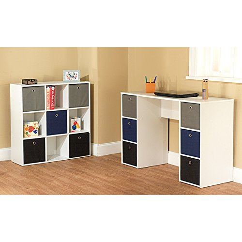 Desks/ Student & Writing Desks Contemporary, Modern 'Jolie' White and Blue Writing Desk and 5-bin Bookcase Set - Assembly Required 1465335. 29.5 in High x 47.25 in Wide x 15.75 in Deep by Simple Living Products