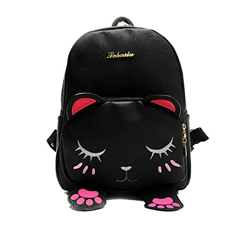 - Mini Backpack For Girls Cute Cat Design Fashion Leather Bag Women Casual Fashion(Black)