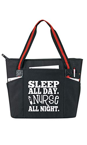 Sleep All Day Nurse All Night Black - Large Nursing Tote Bags for Night Nurses - Perfect for Work, Gifts for CNA, RN, Nursing Students