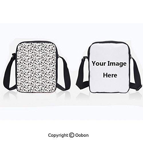 (Anti-Theft Crossbody Bag for Women Polyester Unisex Children Funny Fish Bone Pattern Abstract Tattoo Style Artistic Modern Print Charcoal Grey White Zipper Anti Theft Waterproof Shoulder Bag)