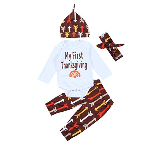 4Pcs/set Newborn Baby Girl Boy Thanksgiving Outfit
