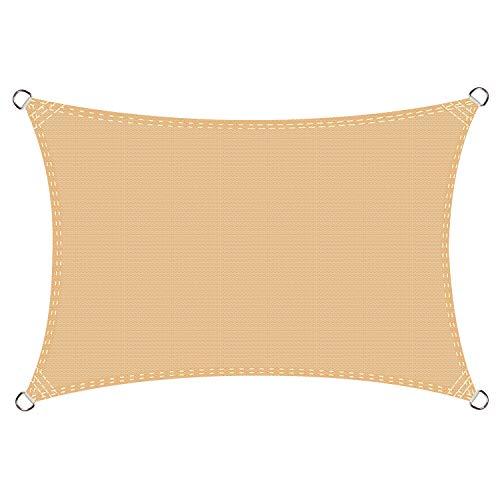Cool Area Voile d'ombrage rectangulaire 2.5 x 3 mètres Une Protection des Rayons UV, résistant et Respirant, Couleur Sable