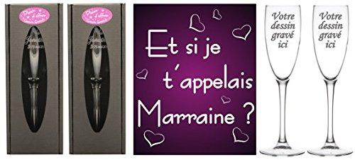 Flute Gravée - Et si je t'appelais Marraine / Parrain - Baptême & Communion Gravure Events F1-Pr-Mr