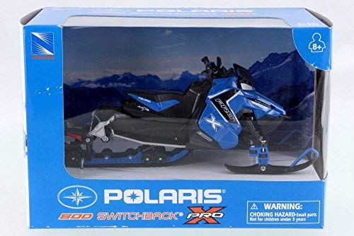 New Ray Polaris 800 Switchback Pro Snow Mobile, Blue w/ Black 57783B - 1/16 Scale Vehicle Replica ()