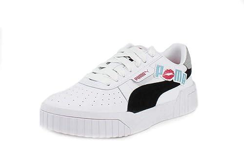 PUMA Womens Cali Glitz White Black-Milky Blue Sneaker