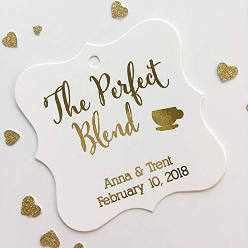 The Perfect Blend Color Foil Favor Tags, Coffee Cup Wedding Favor Tags, Wedding Hang Tags (FS-097-F)