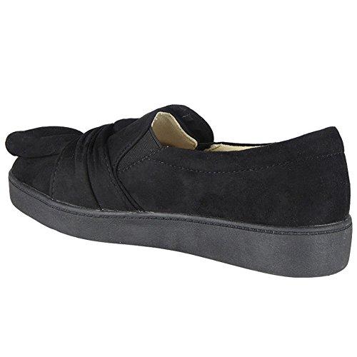 Sintetico Donna Da Slip Scarpe Sneakers Nuovo Basse Pump Numeri 8 On Fiocco 3 Nero Sportive Camoscio 5gXxqUwC