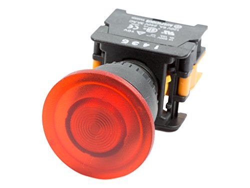 Alpinetech LEX-22 Red 22mm 1NO Momentary Push Button Switch 12V LED Illuminated (Button Illuminated Momentary Push)
