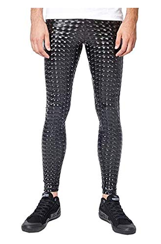 Kapow Meggings Men's Metallic Range Leggings - Holographic, Wet Look & Glitter (Black Magic, -