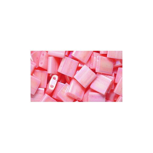 Luster Tea (Miyuki Tila Two Hole Bead, TL596, 5mm, Opaque Tea Rose Luster Aurora Borealis Finish, 10-Gram/Pack)