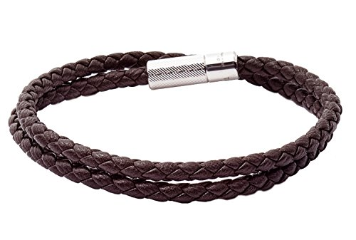 Tateossian POP Rigato Double Wrap Italian Leather Bracelet - Dark Brown, Large 41cm by Tateossian (Image #4)