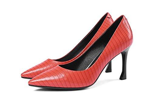 AJUNR Moda/elegante/Transpirable/Sandalias Solo los zapatos zapatos de mujer cabeza alargada fina tacones luz de boca rojo 8 cm Zapatos de tacon alto Treinta y cinco 36